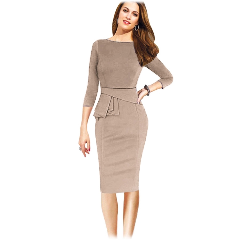 FASHION Ladies Formal Dress With Three-Quarter Sleeve- Beige - Jumia Kenya