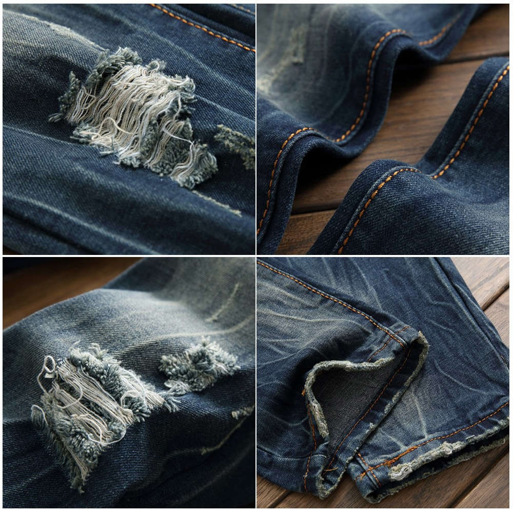 Scratched Zipper Fly Ripped Jeans
