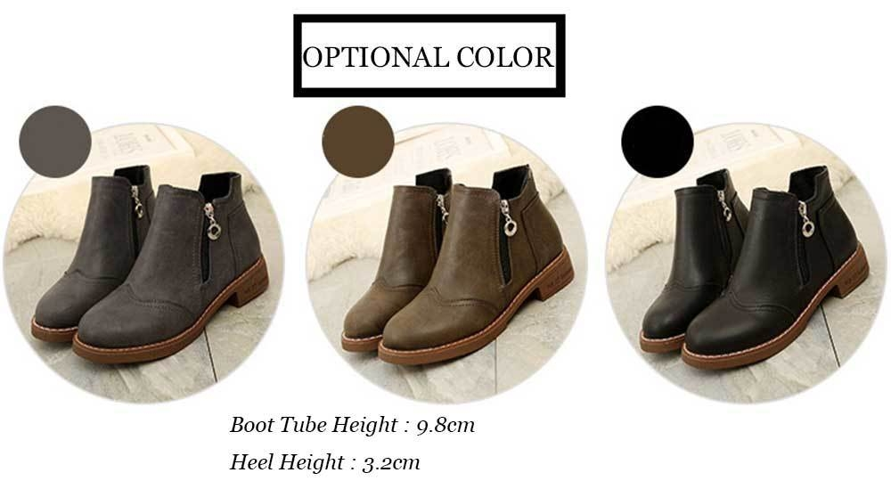 Fashionable Zipper Design Pure Color Ankle Boots for Women