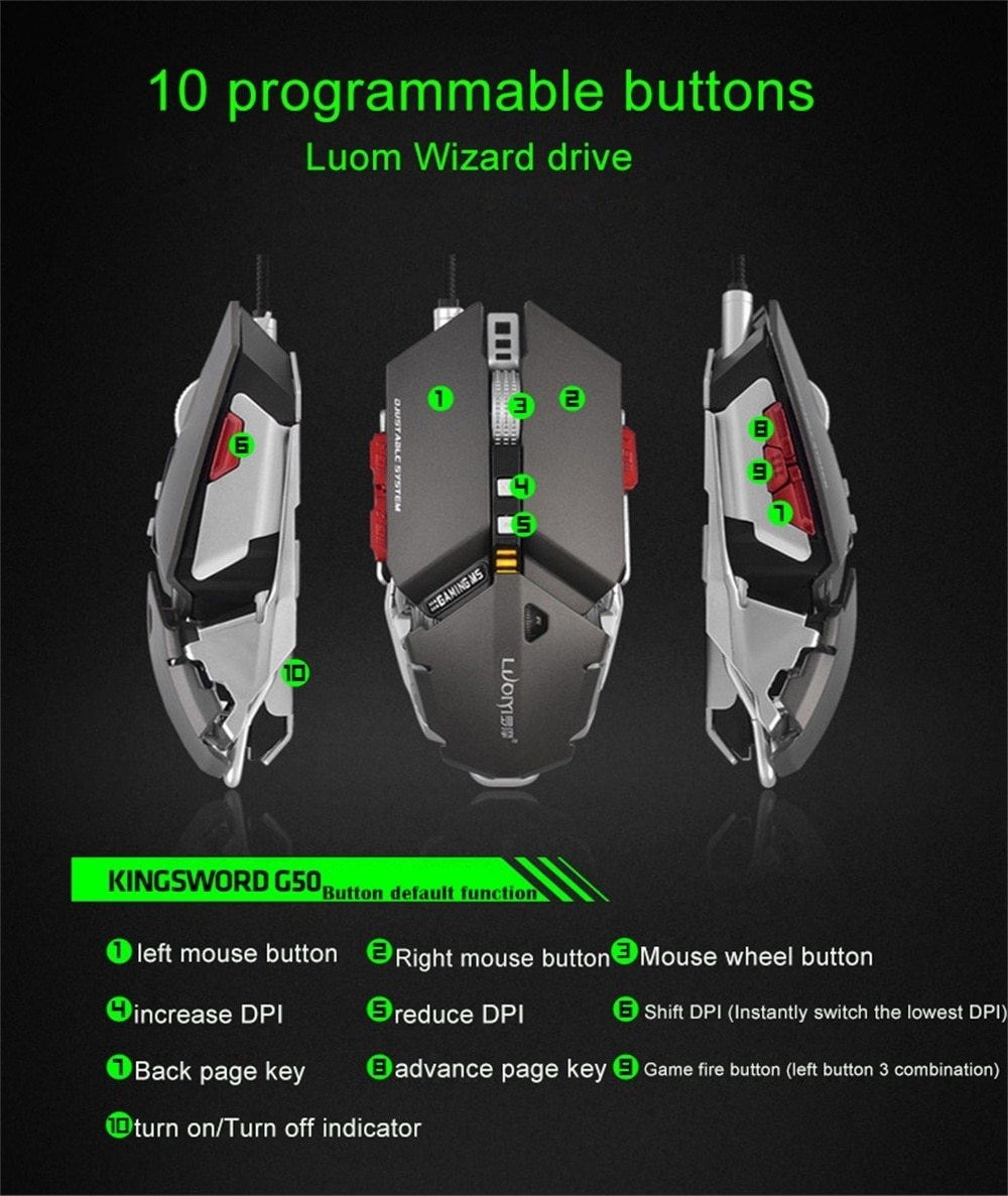 Felyby G50 Professional Mechanical Gaming Mouse 4000 DPI 10