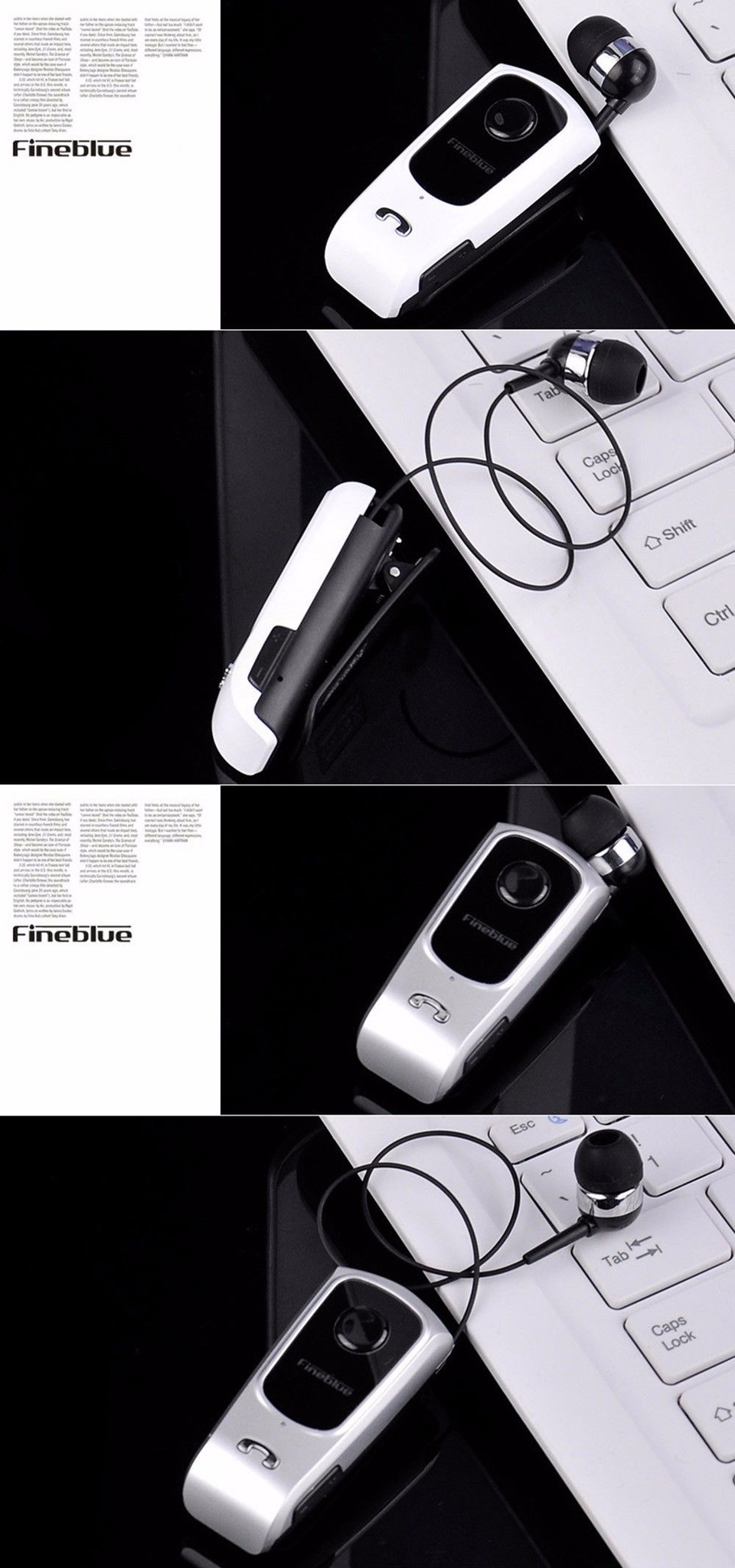 FINEBLUE F920 Wireless Bluetooth V4.0 Headphone Calls Vibration Remind Wear Clip Headset