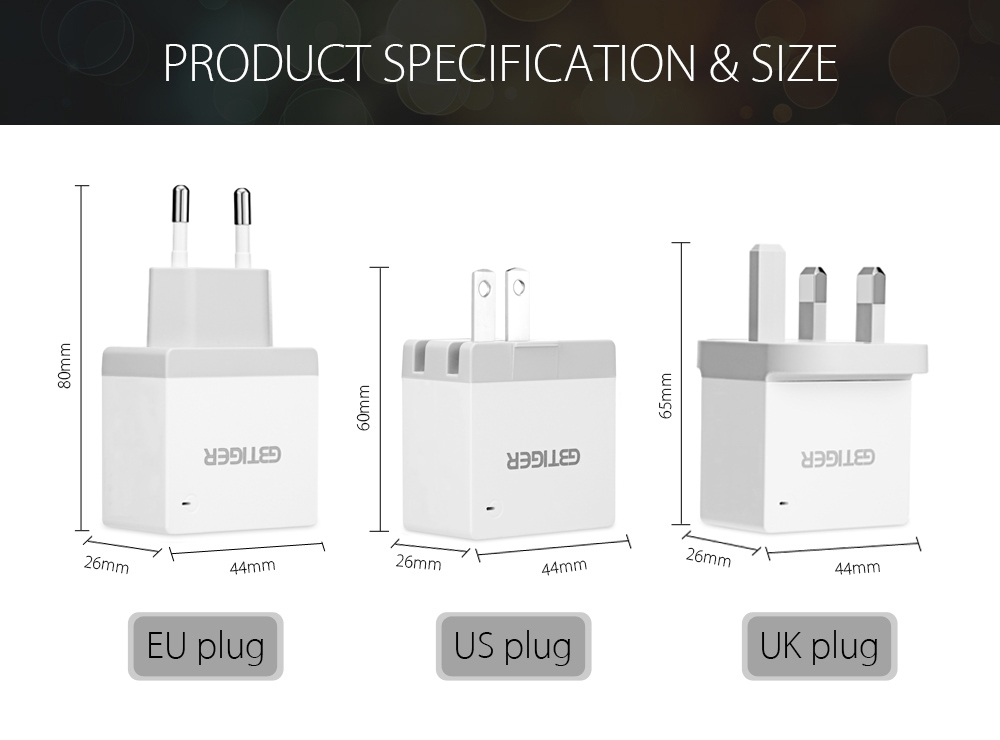 GBTIGER Universal 2 USB 5V 2.4A Multifunctional Quick Travel Adapter with LED Light