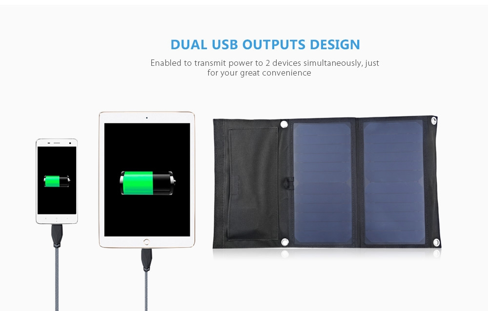 GBtiger 14W Dual USB Portable Sunpower Solar Charger Panel Power Emergency Water Resistant Folding Bag