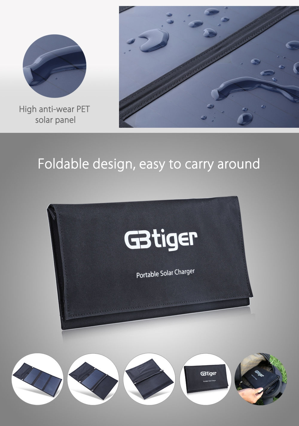 GBtiger 21W Dual USB Portable Sunpower Solar Charger Panel Power Emergency Water Resistant Folding Bag