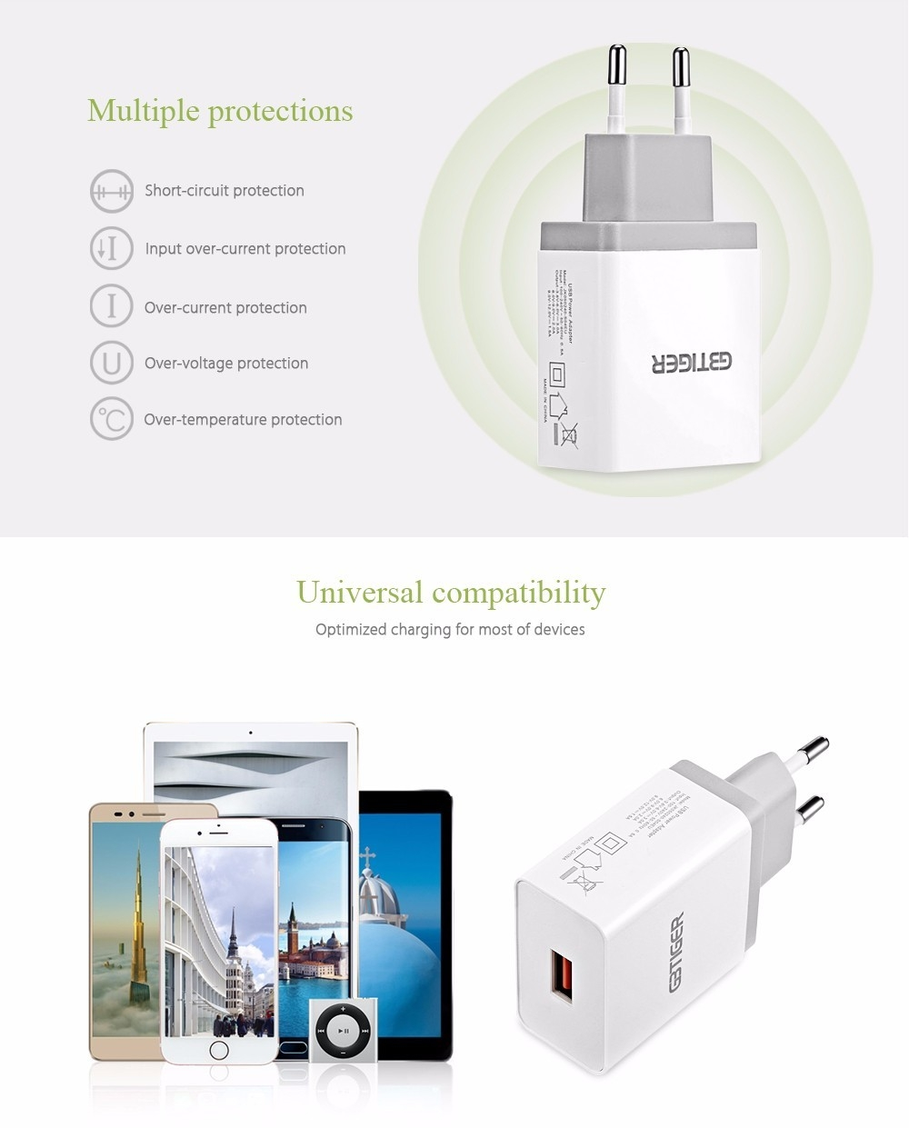 GBtiger Qualcomm Certification QC 3.0 Multifunctional Quick Travel Adapter