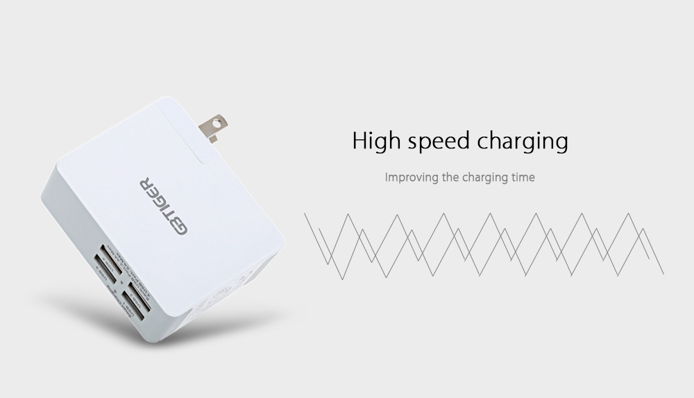 GBTIGER Universal 25W 4 USB 5V 5A Multifunctional Quick Travel Charger Adapter