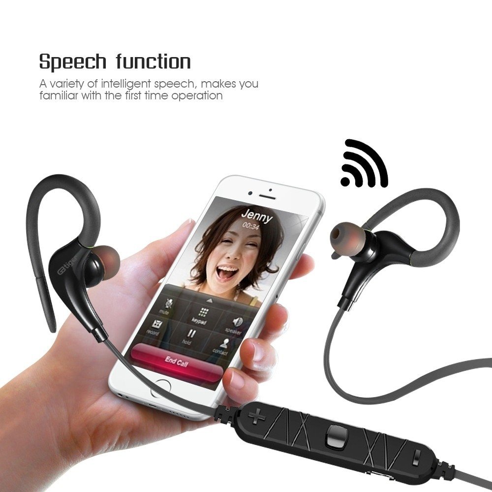 GBtiger Bluetooth 4.0 Headphone Wireless Sports Earphone Headset Earbud