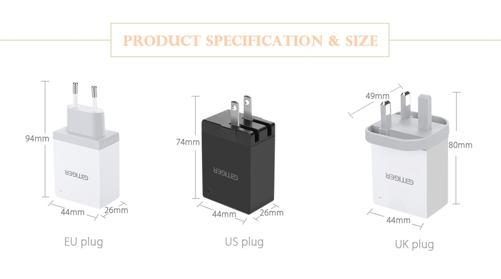 GBTIGER Universal 4 USB 5V 2.1A Multifunctional Quick Travel Adapter with LED Light