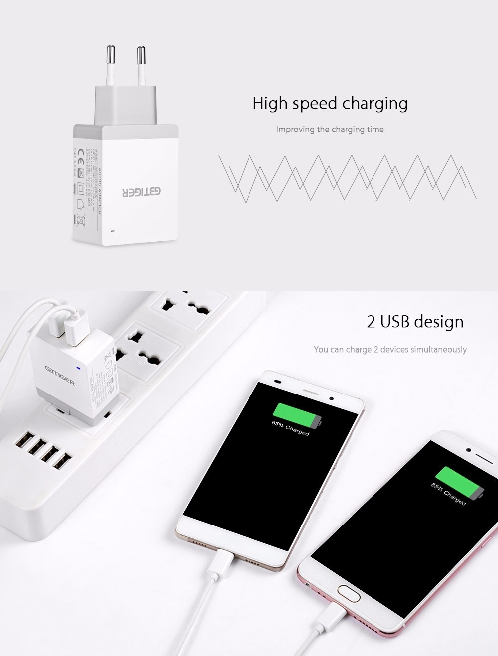 GBTIGER Universal 2 USB 5V 3.6A Multifunctional Quick Travel Adapter with LED Light