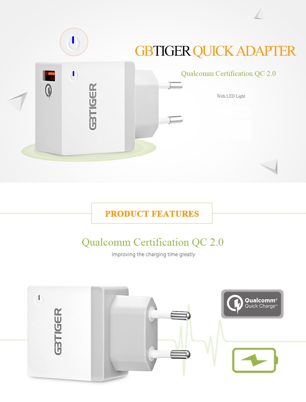 GBTIGER Qualcomm Certification QC 2.0 USB Multifunctional Quick Travel Adapter with LED Light