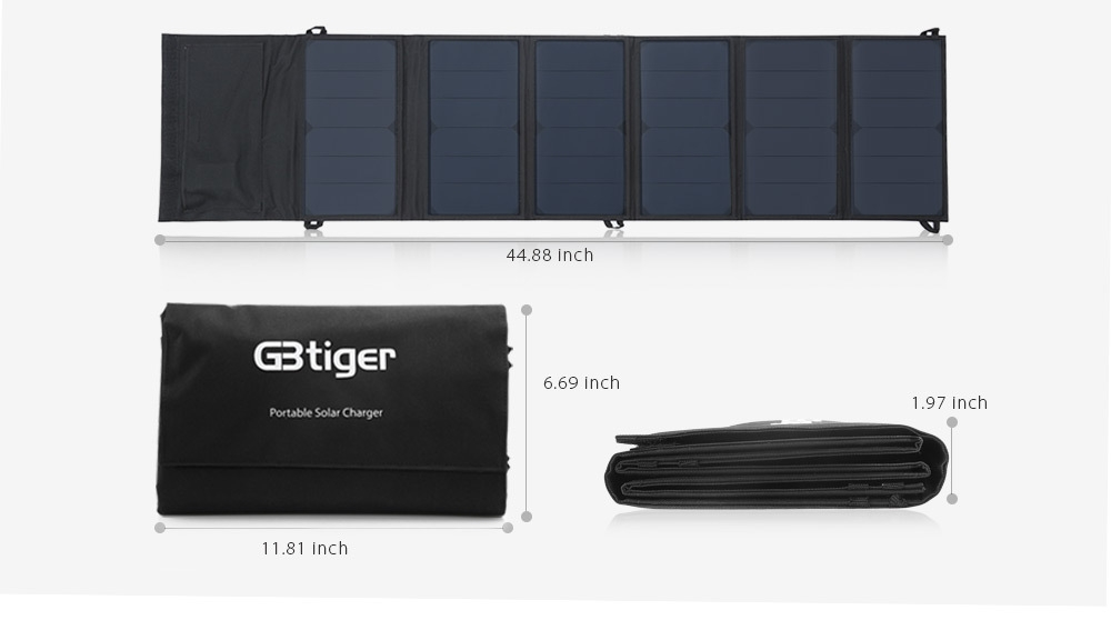 GBtiger 40W Dual Outputs Portable Sunpower Solar Charger Panel Water Resistant Folding Bag