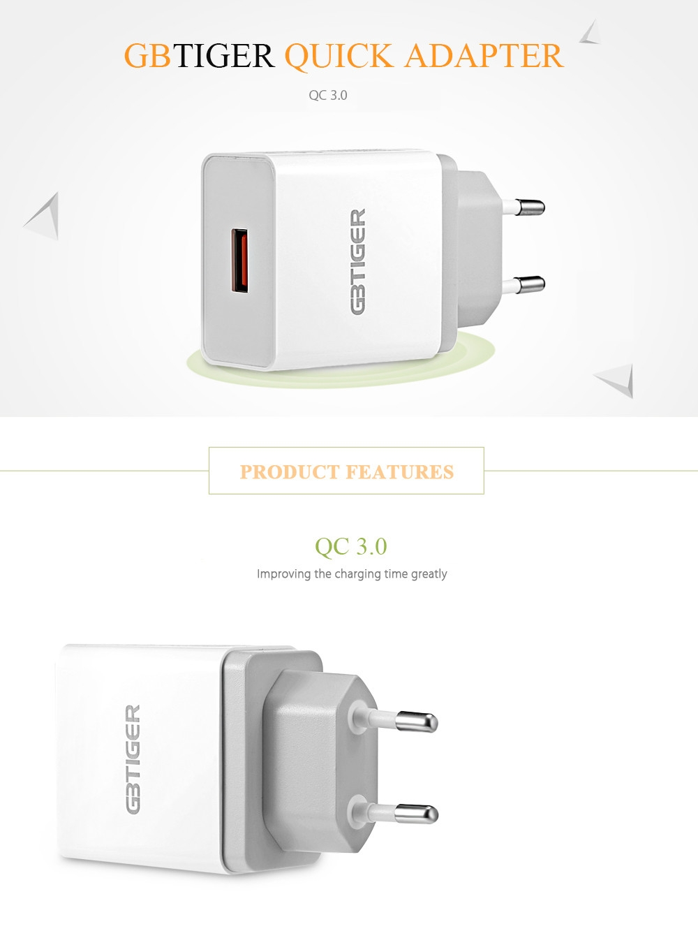 GBtiger Qualcomm Certification QC 3.0 Multifunctional Quick Travel Adapter