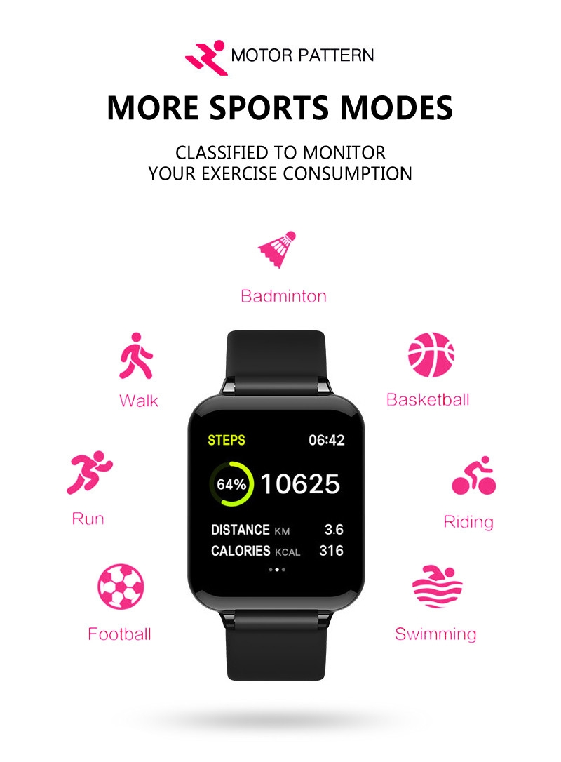 Smart Watches Waterproof Sports  Bands Bracelets Heart Rate Monitor Blood Pressure pink one size 8