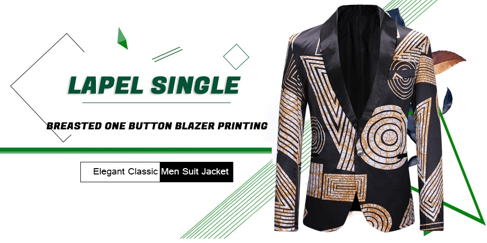 Lapel Single Breasted One Button Blazer Printing Elegant Classic Men Suit Jacket