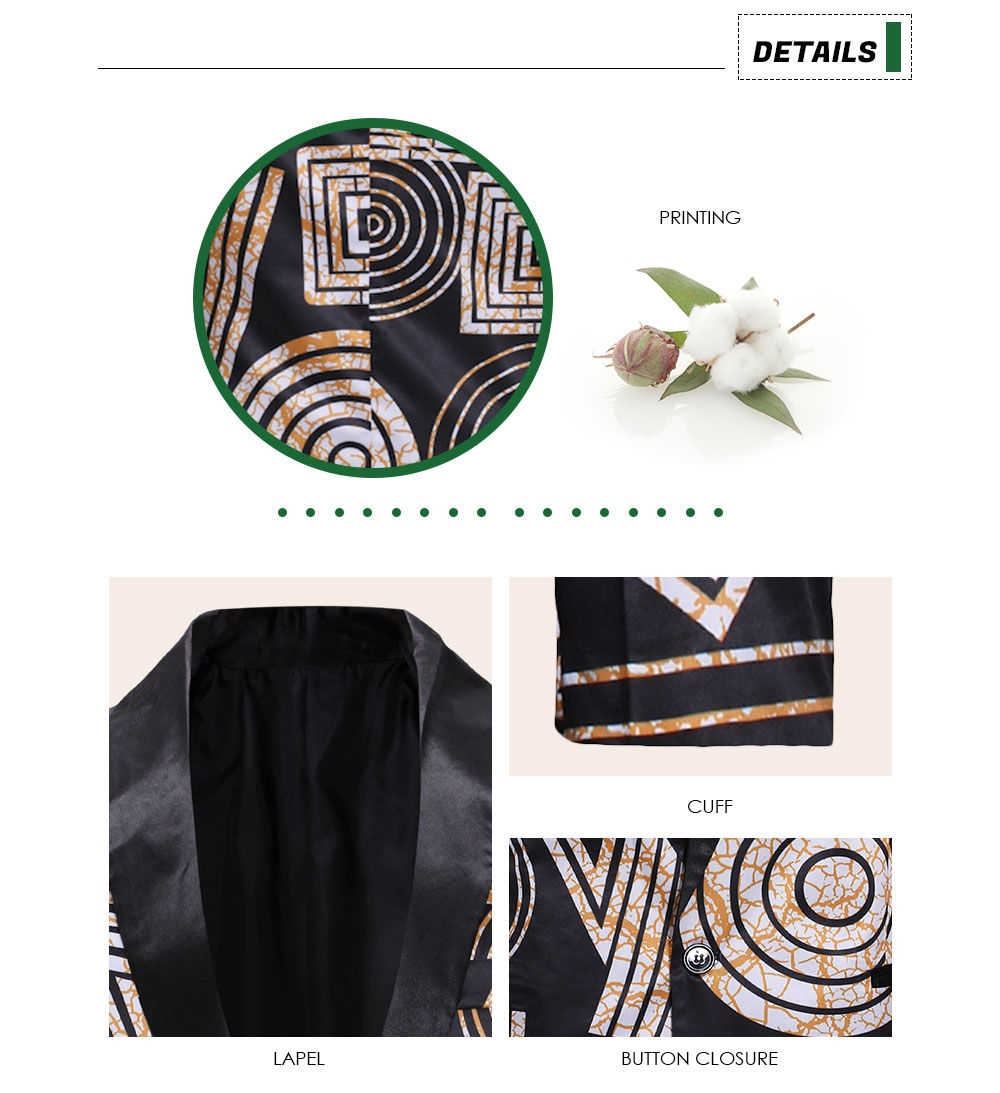Lapel Single Breasted One Button Blazer Printing Elegant Classic Men Suit Jacket