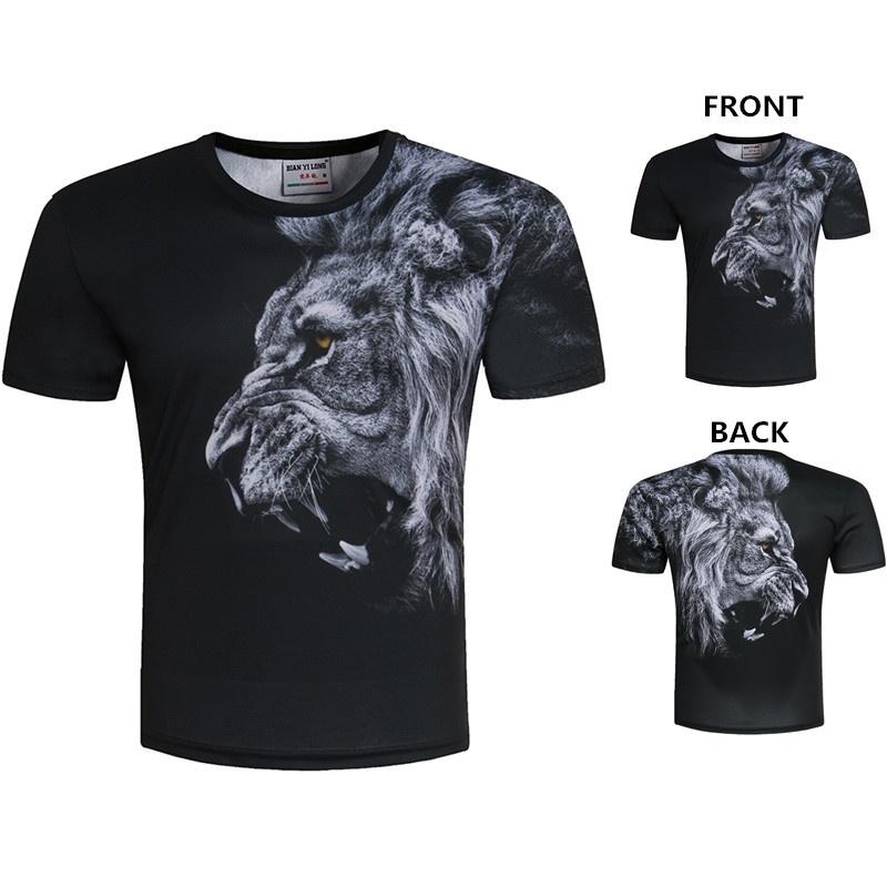 New Stylish 3D Lion Digital Printing Men's Short Sleeves T-shirt