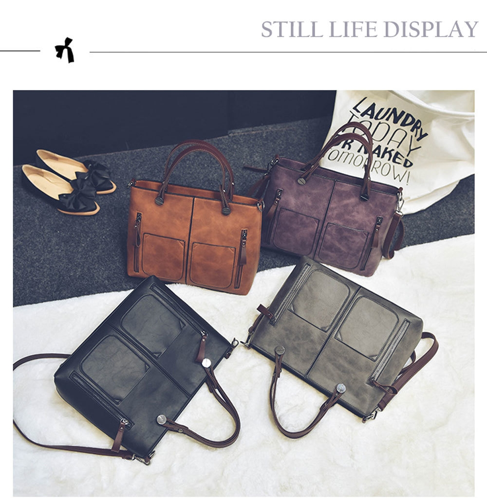 Fashion Ladies Old Classical  Dual Pocket Handbag Large Package Scrub Leather Shoulder Bag
