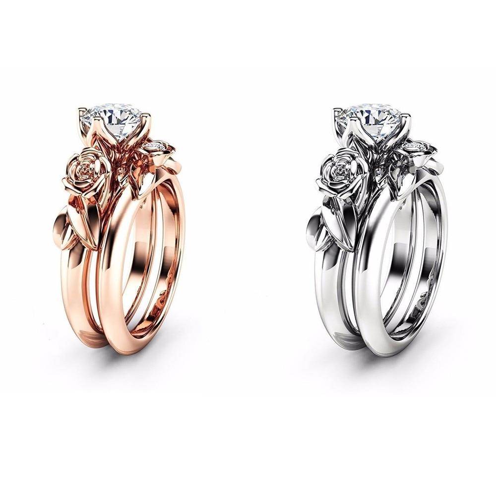 Rose Flower Diamond Couple Rings