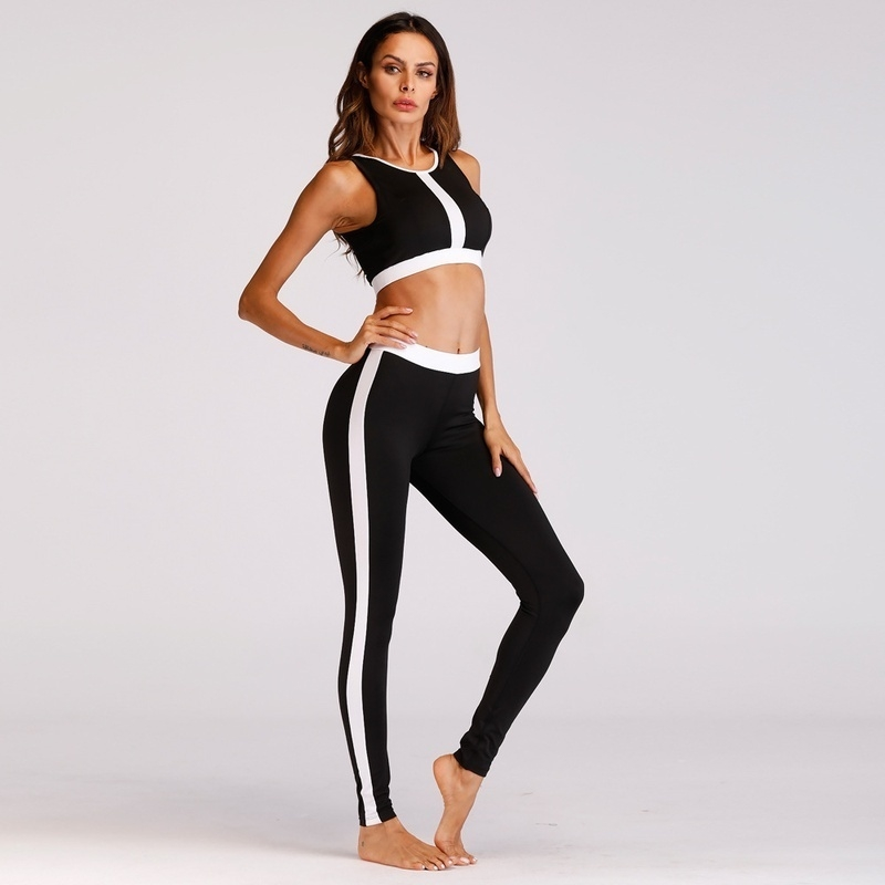 c25672f189548 ... image  image  image  image  image  image. Key Features. Vest  Yoga   Black And White  2Pcs set  Patchwork  Fitness  Running  Sport Suits ...