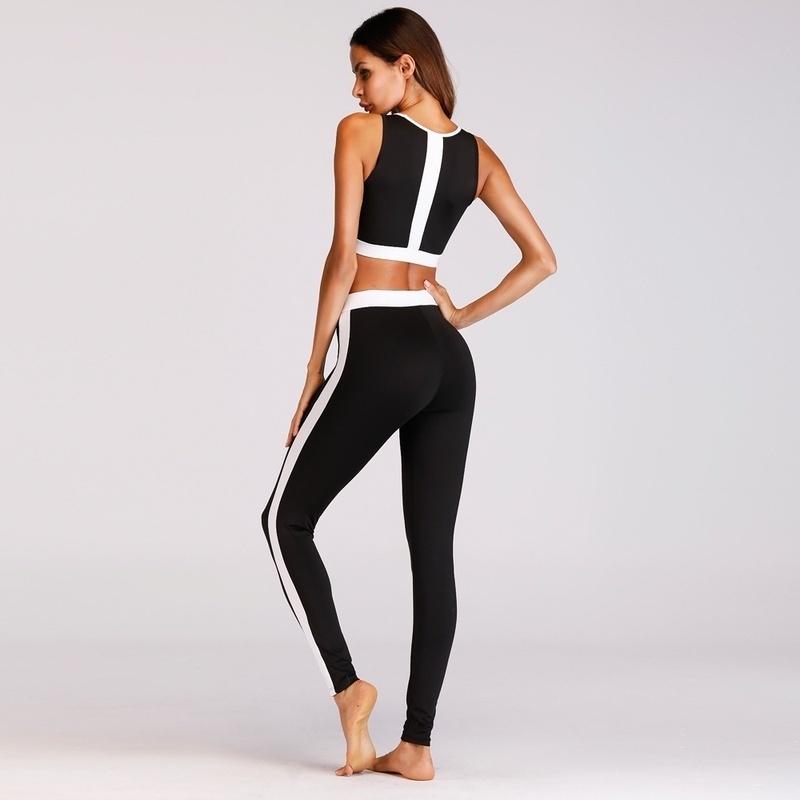 1ea236196dab4 ... image  image  image  image. Key Features. Vest  Yoga  Black And White   2Pcs set  Patchwork  Fitness  Running  Sport Suits ...