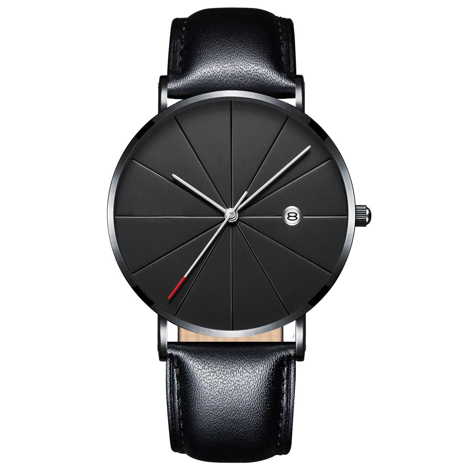Luxury Watches Men Blue Stainless Steel Ultra Thin Watches Men Classic Quartz Date Men's Wrist Watch black+rose gold 25cm 1