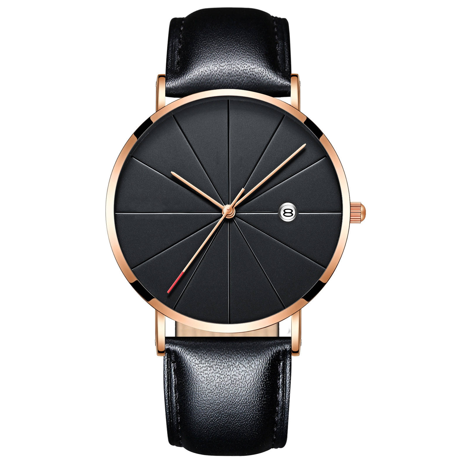 Luxury Watches Men Blue Stainless Steel Ultra Thin Watches Men Classic Quartz Date Men's Wrist Watch black+rose gold 25cm 2