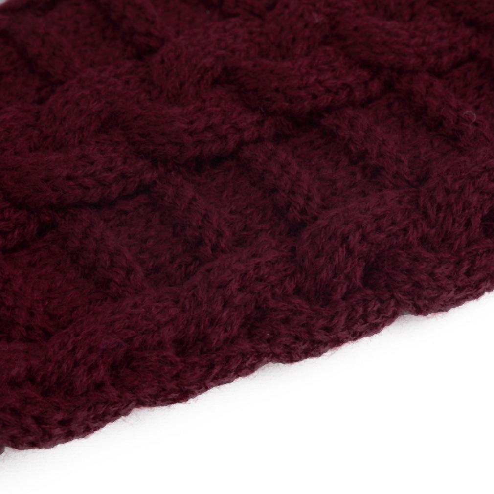 Buy Allwin Fashion Unisex Men Women Knitted Fingerless Winter Gloves Knit Hoodie Maroon Image