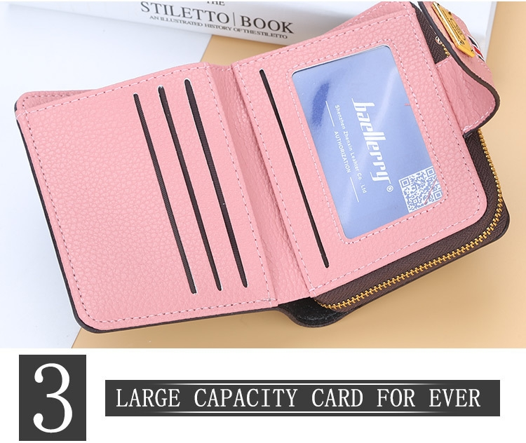 Fashion Women Short Clutch Wallet Large Capacity Purse Ladies Purses Small Coin Pocket Card Holder red one size 18