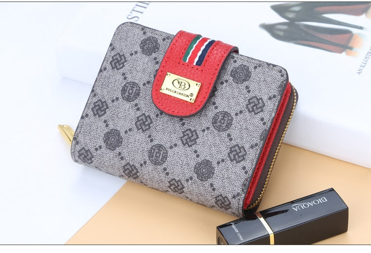 Fashion Women Short Clutch Wallet Large Capacity Purse Ladies Purses Small Coin Pocket Card Holder red one size 12
