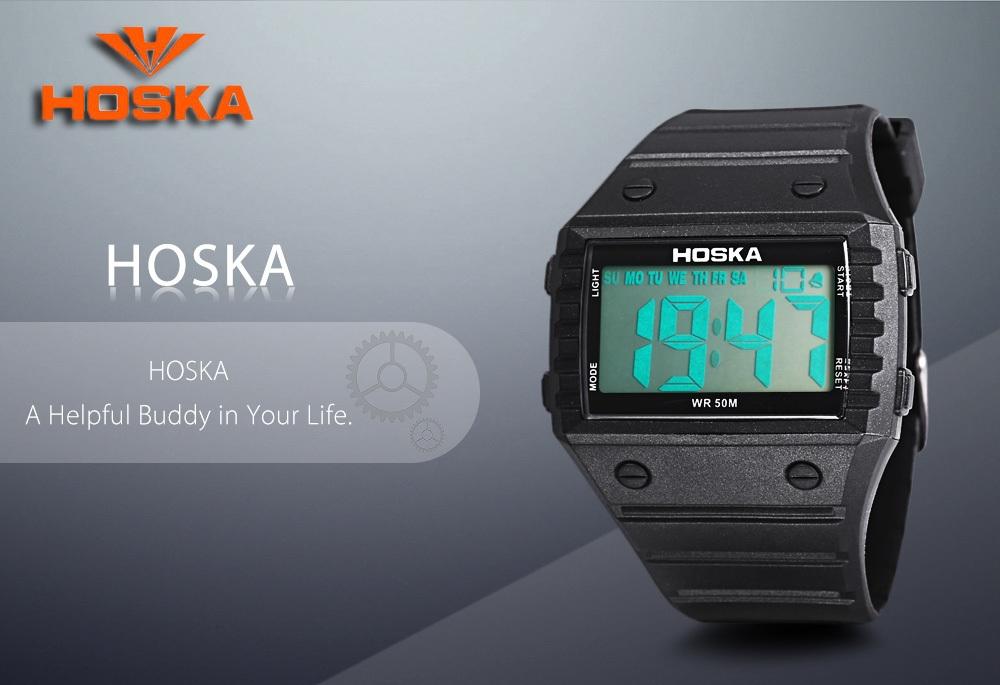 HOSKA H033B Children Digital Watch Alarm Day Stopwatch Backlight Rectangle Dial 5ATM Wristwatch