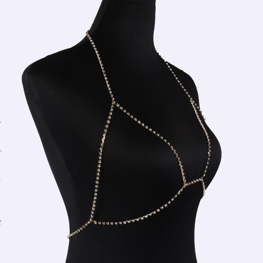 62aa701ba4167 Generic Fashion Rhinestone Bra Chain Sexy Harness Bikini Body Chain Women  Jewelry GD