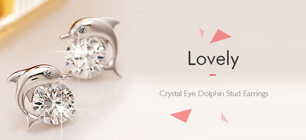 Pair of Lovely Crystal Eye Dolphin Stud Earrings