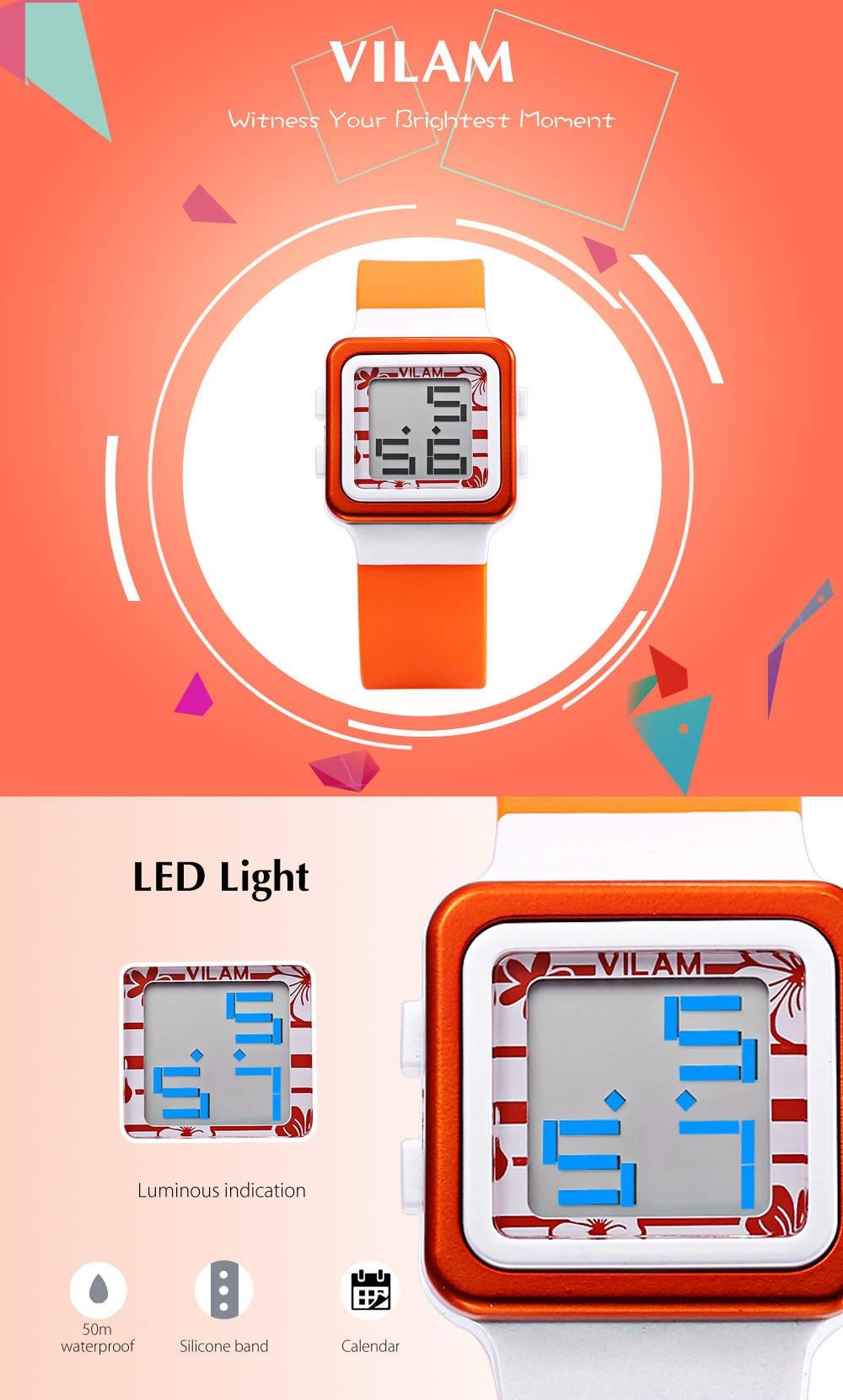 VILAM 07005 Kids Digital Sports Watch Calendar LED Light 50m Water Resistance Wristwatch