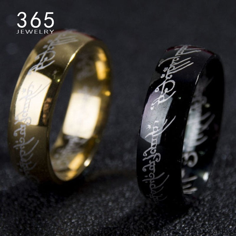 2016-Magic-Letter-The-Hobbit-Lord-of-the-Rings-Black-Silver-Gold-Titanium-Stainless-Steel-Ring
