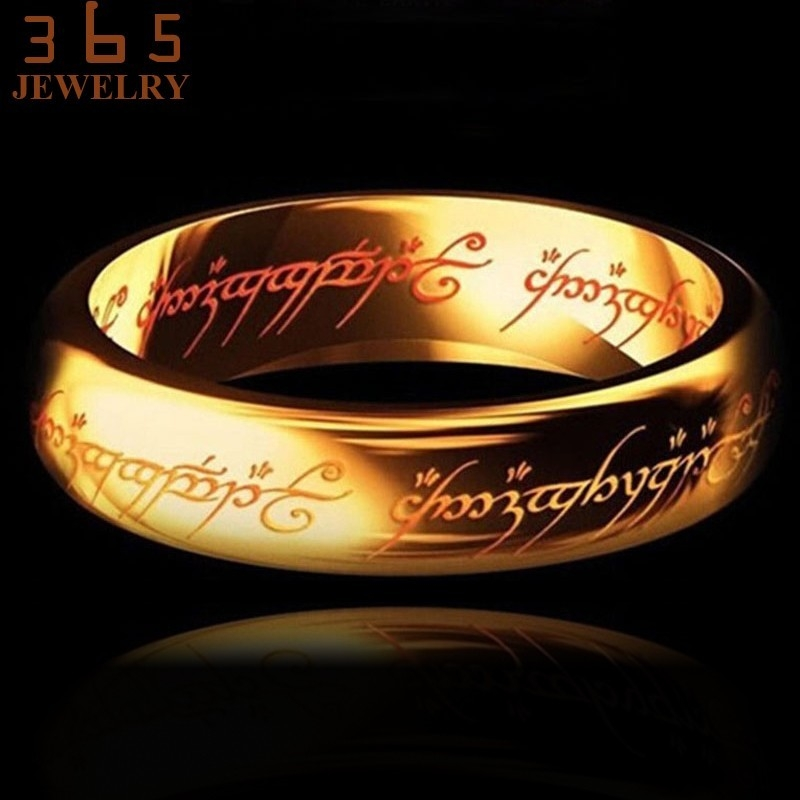 2016-Magic-Letter-The-Hobbit-Lord-of-the-Rings-Black-Silver-Gold-Titanium-Stainless-Steel-Ring (4)