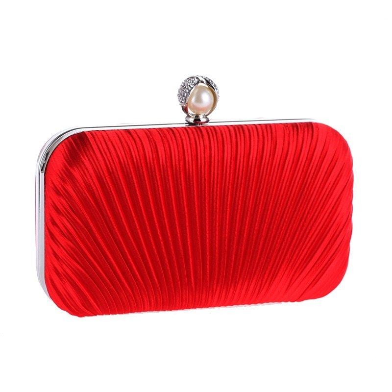cd29cb587e Generic New Apricot Women's Bag Satin Shoulder Bag Bridal Wedding Evening  Bag Clutch Handbag Party Purse Makeup Bag XST213(Red)
