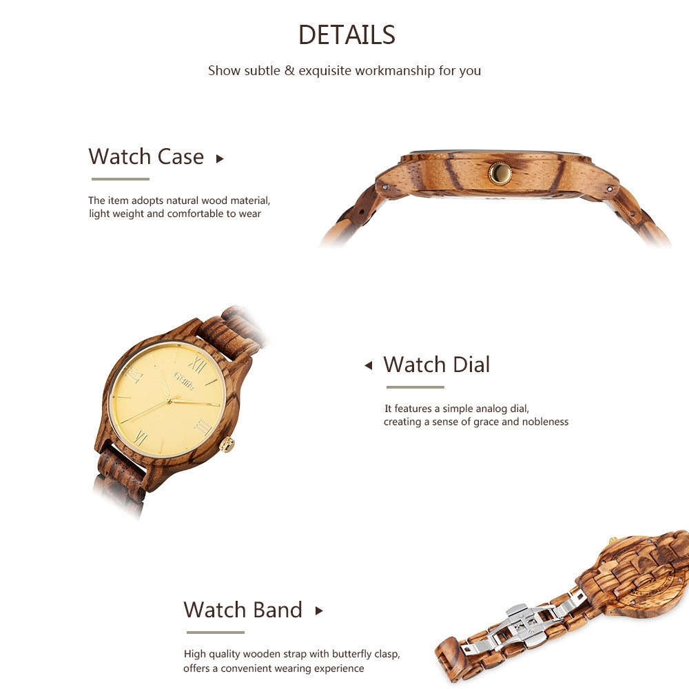 GBlife MF - 001 Men Quartz Wooden Watch Simple Dial Male Wood Wristwatch