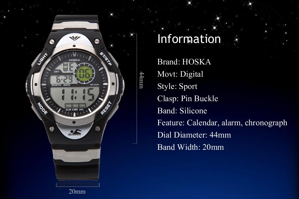 HOSKA H013B Children LED Digital Watch Calendar Alarm Chronograph Display Sports Wristwatch