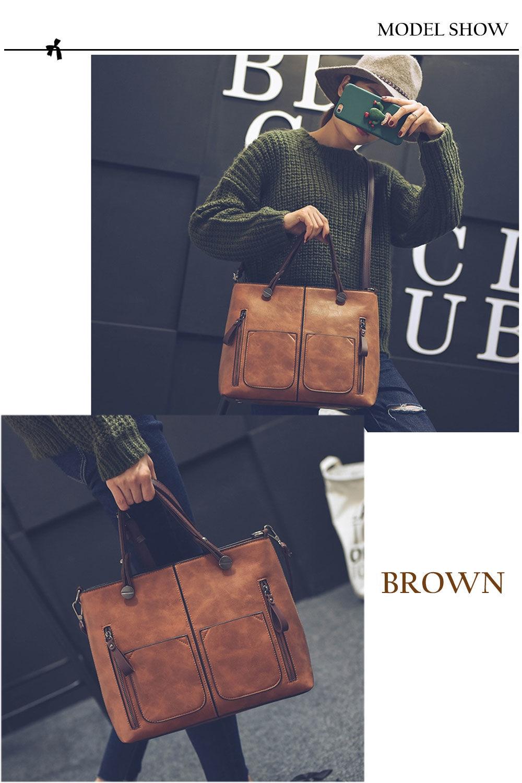 Guapabien Fashion Ladies Old Classical  Dual Pocket Handbag Large Package Scrub Leather Shoulder Bag