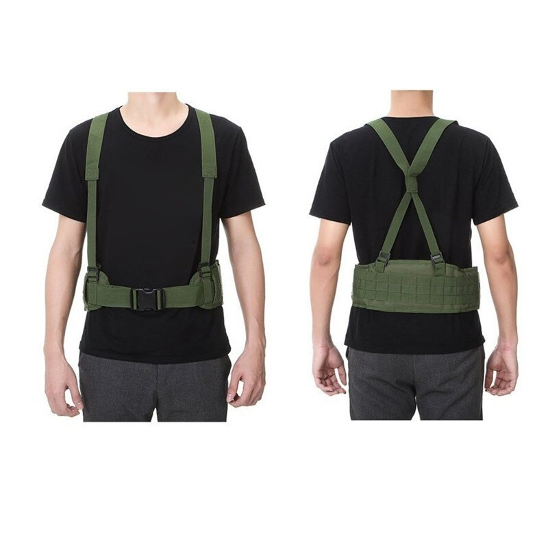 Tactical Waist Padded Belt With H-shaped Suspender 1000D Nylon Molle  Shooting Adjustable Waist Bearing Belt Band006