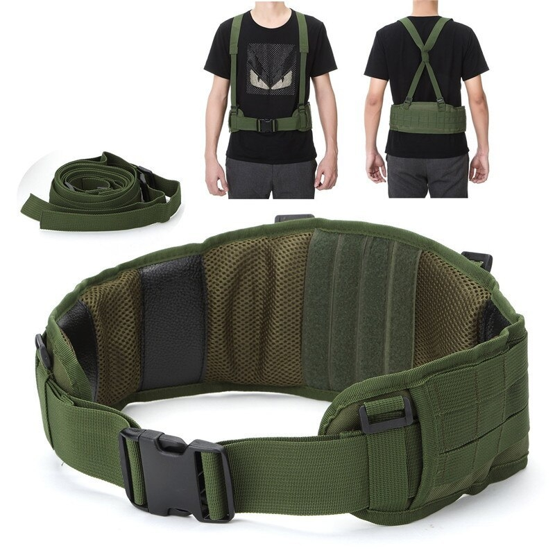 Tactical Waist Padded Belt With H-shaped Suspender 1000D Nylon Molle  Shooting Adjustable Waist Bearing Belt Band001