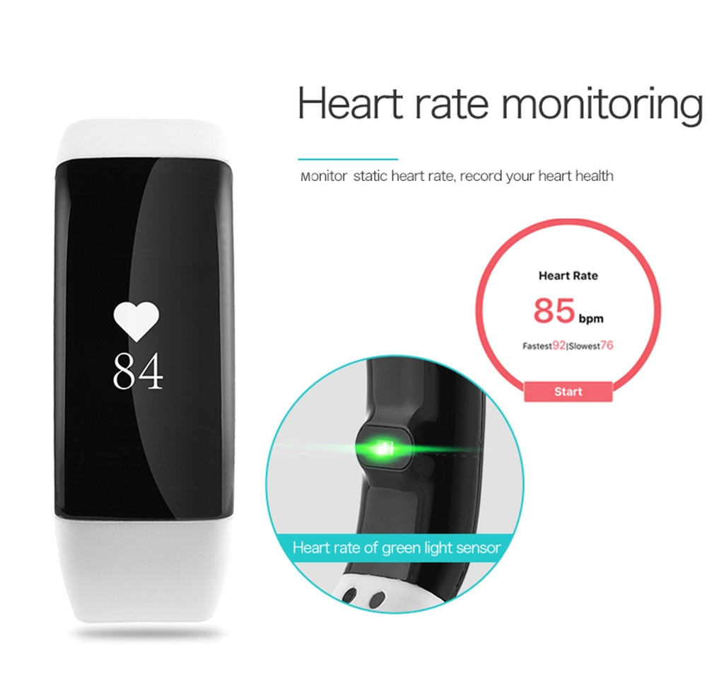 V66 Heart Rate Monitor Smart Wristband Anti-lost Sedentary Remind Bracelet