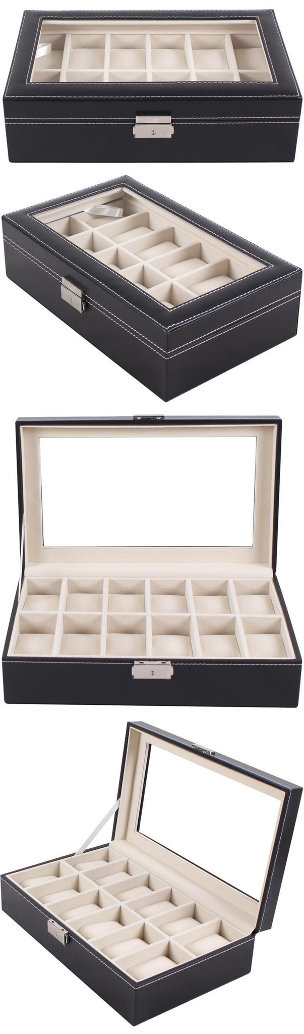 Watch Jewelry Storage Case 12 Grids PU Leather Display Box for Bracelet Shop