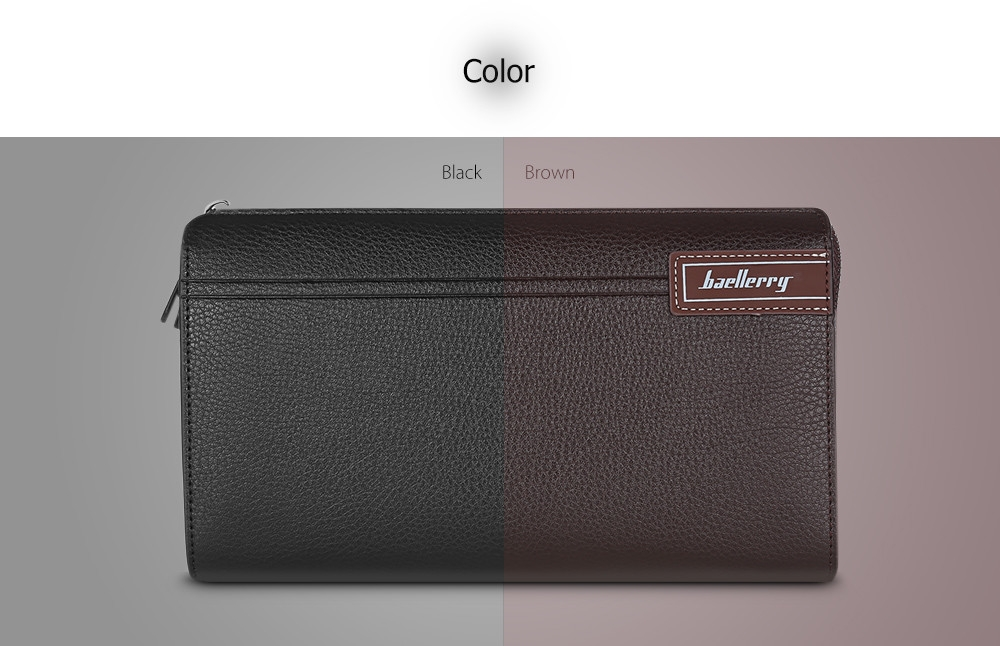 Baellerry Business Men Wallet Long PU Leather Phone Clutch Handbag Top Zipper Card Holder