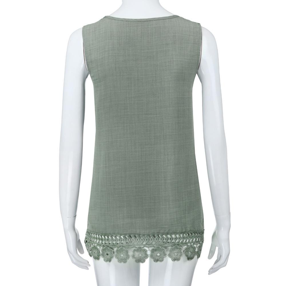 a75098c1c1c Generic Generic Women O-Neck Sleeveless Pure color Lace Plus Size Vest Tops  Loose T-Shirt Blouse A1