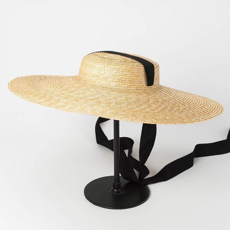 04afec285 Generic Wide Brim Boater Hat 10cm 15cm Brim Straw Hat Flat Women ...