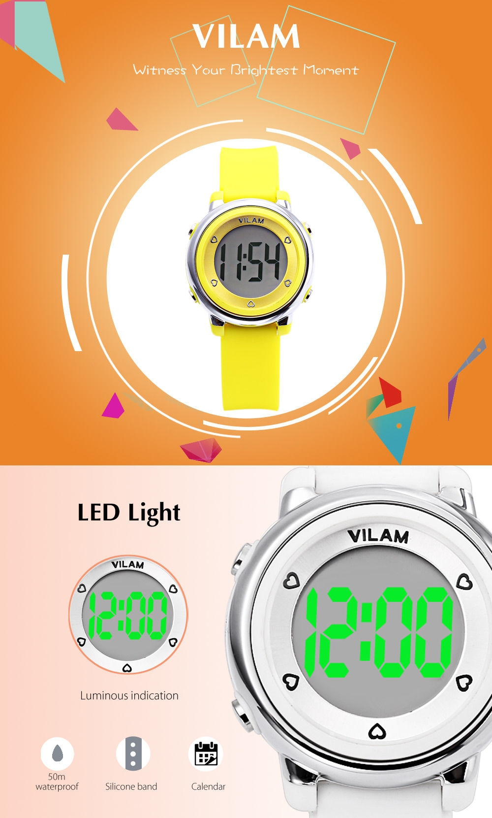 VILAM 06035 Kids Digital Sports Watch Calendar LED Light 50m Water Resistance Wristwatch