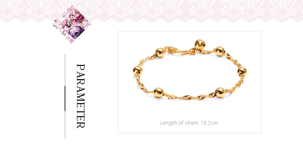 Stylish 24K Plated Gold Color Bell Pendants Twisted Chain Bracelet for Women