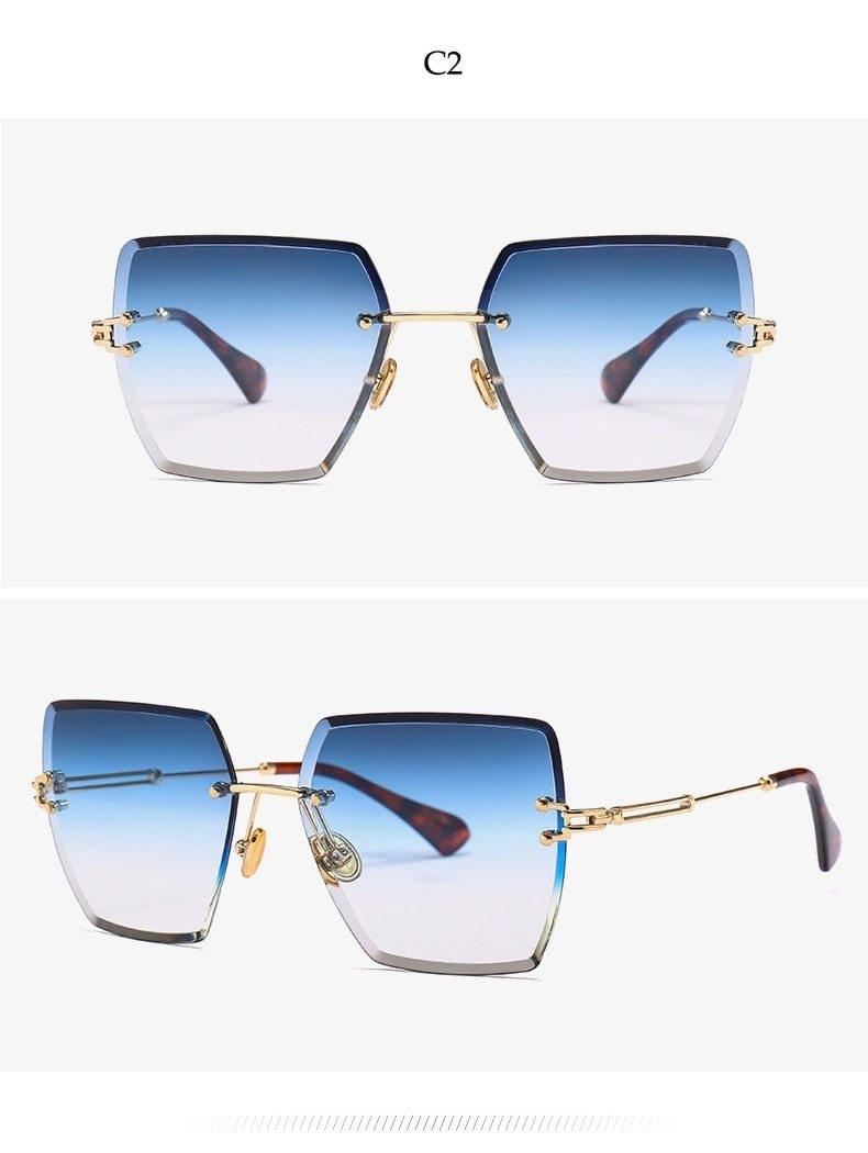c93d5d282 Generic Crystal Square Rimless Sunglasses Gradient Lens Transparent Clear  Sun Glasses For Women Luxury Vintage Brand Big Ladies Eyewear(C2 blue)