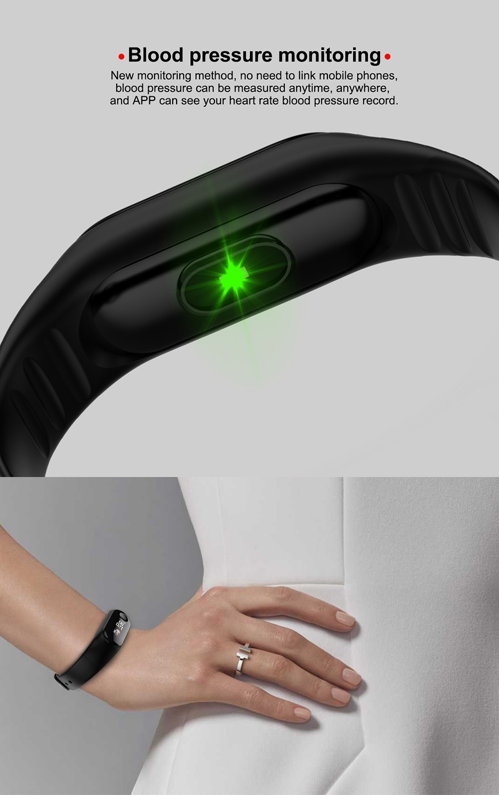 M3PLUS 0.96 inch Smart Bracelet Bluetooth 4.0 Heart Rate Monitoring Blood Pressure Functions